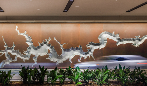 ART WALL, FABRICATED IN SOLANUM STEEL AND ALUMINUM, AT THE HYATT REGENCY HOTEL IN HOUSTON.