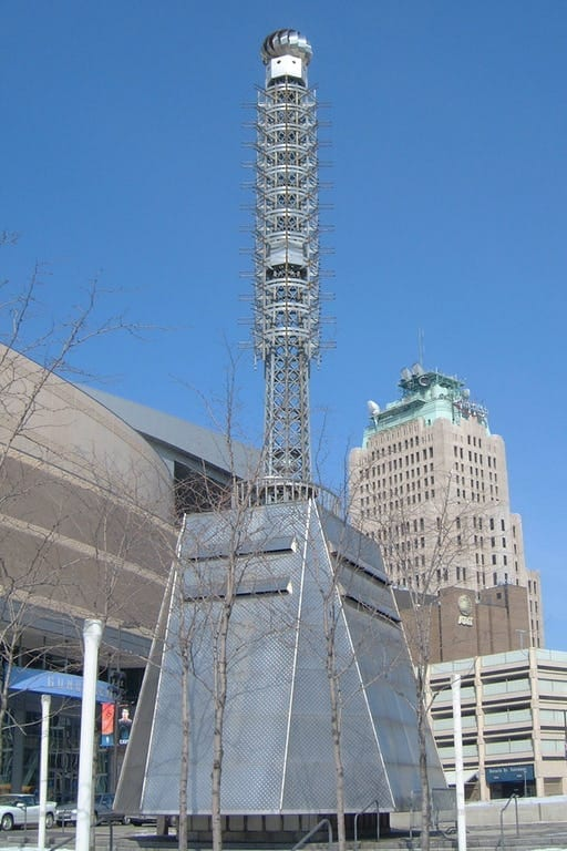 GALVANIZED STEEL AND STAINLESS STEEL USED ON TOWER PARK SCULPTURES IN CLEVELAND, OHIO