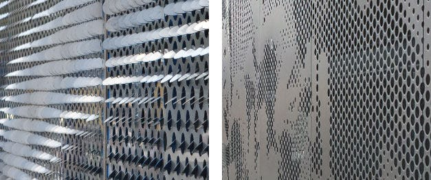 LOUVERED PERFORATIONS (LEFT) PROVIDE ENHANCED CONTRAST COMPARED WITH STANDARD PERFORATION (RIGHT).