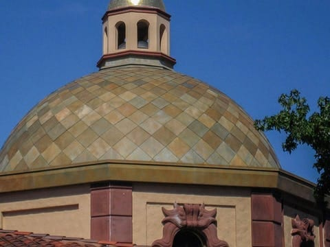 CUSTOM ZINC DOME ROOF ON THE PLAZA.