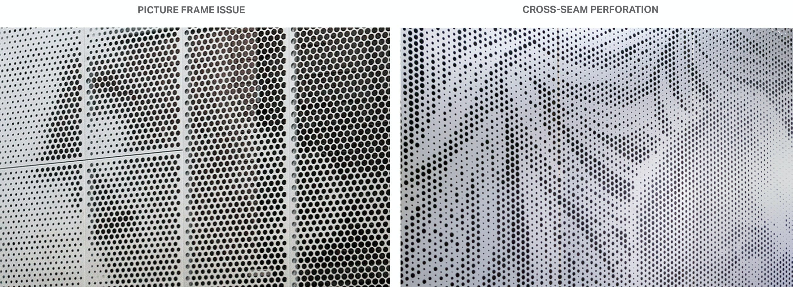 """Large, visible seams between """"pictured-framed"""" panels (left), while Cross-Seam Perf (right) show very subtle seams."""