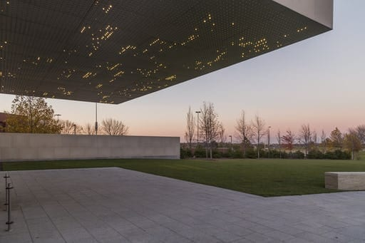The kinetic lighting of the Nerman Museum, manufactured by Zahner for artist Leo Villareal.