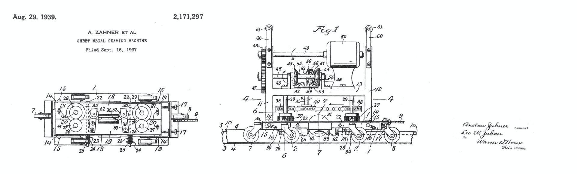 Zahner patent for historic Sheet Metal Seaming Machine.