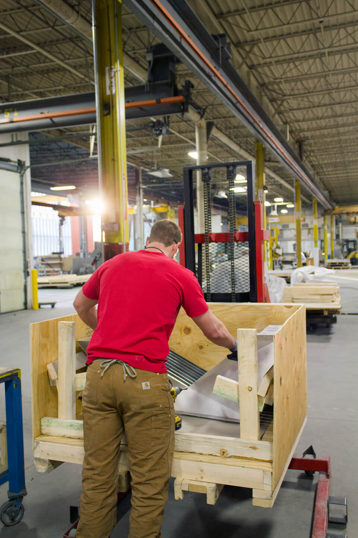 Zahner fabricator crates the aluminum parts for the IwamotoScott Facade.
