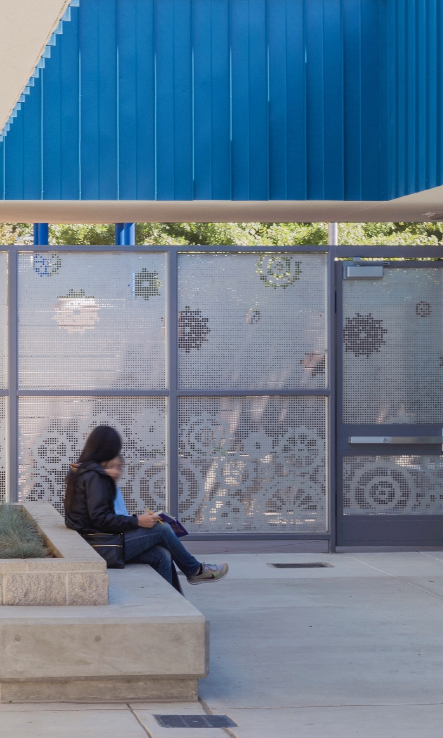 A courtyard wall and door feature an ImageWall pattern that reverses the background between the top and bottom of the panels.