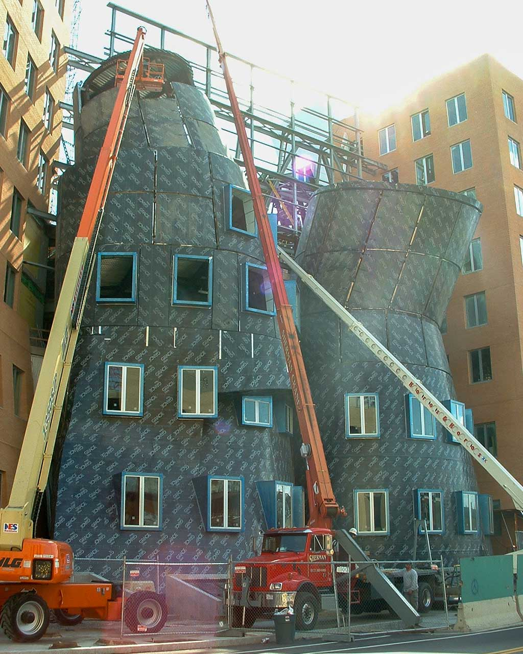 Twins building during construction revealing the ZEPPS panel understructure.