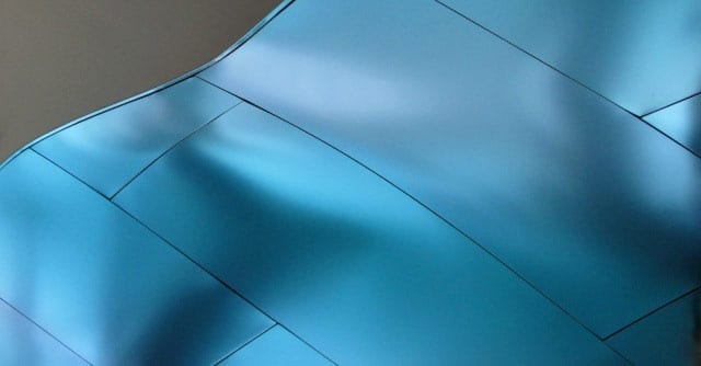 Detail of the finished titanium surface.