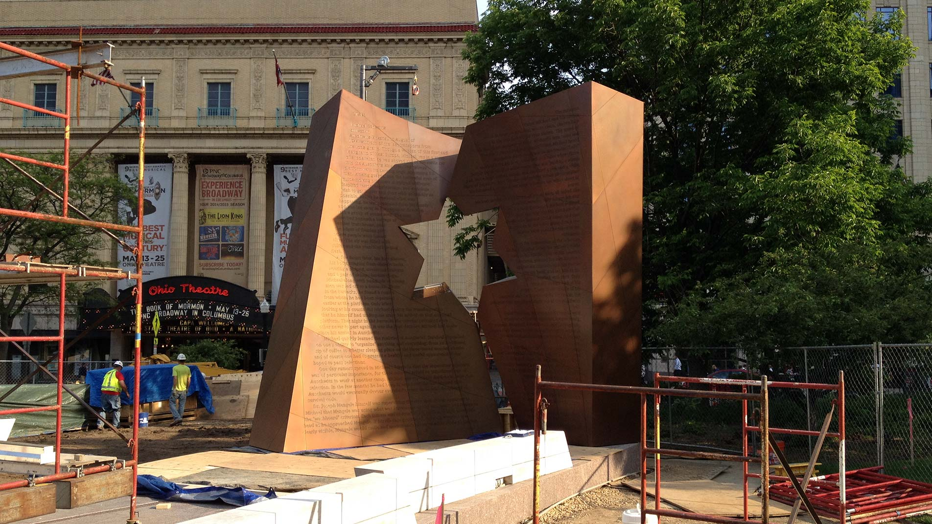 The memorial nears completion at the Ohio Statehouse