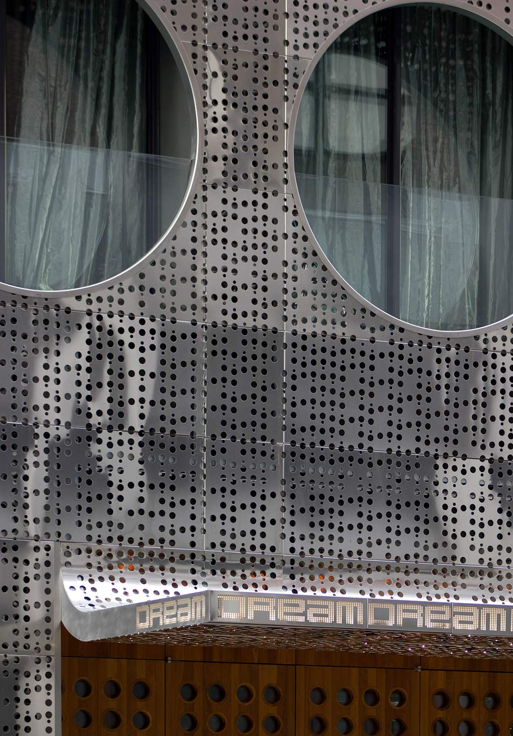 Detail of the metal panel system of the south side of Dream Downtown.