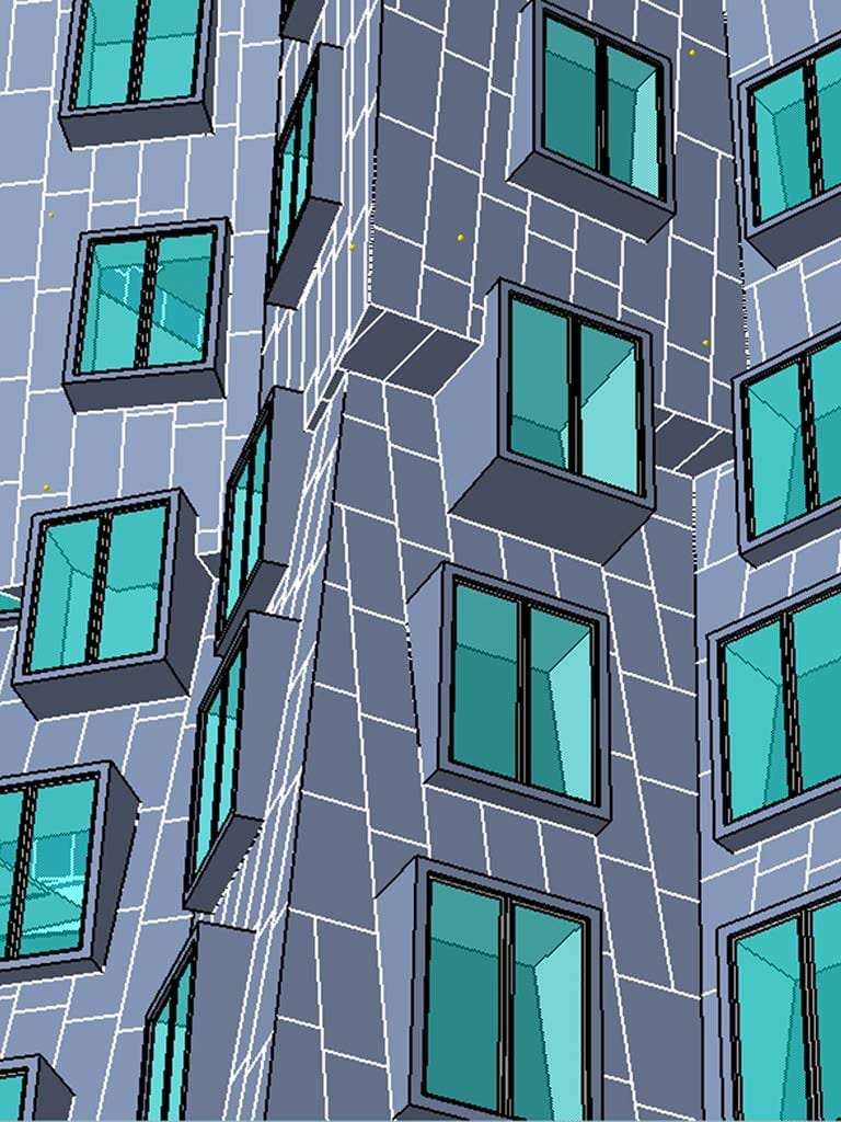 Detail CAD comparison of the Giraffe building at MIT Stata Center.