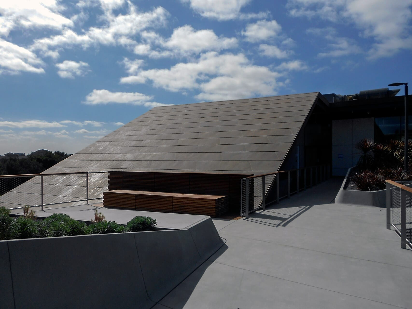 Zinc roof with a custom patina, McMurtry Building in California.