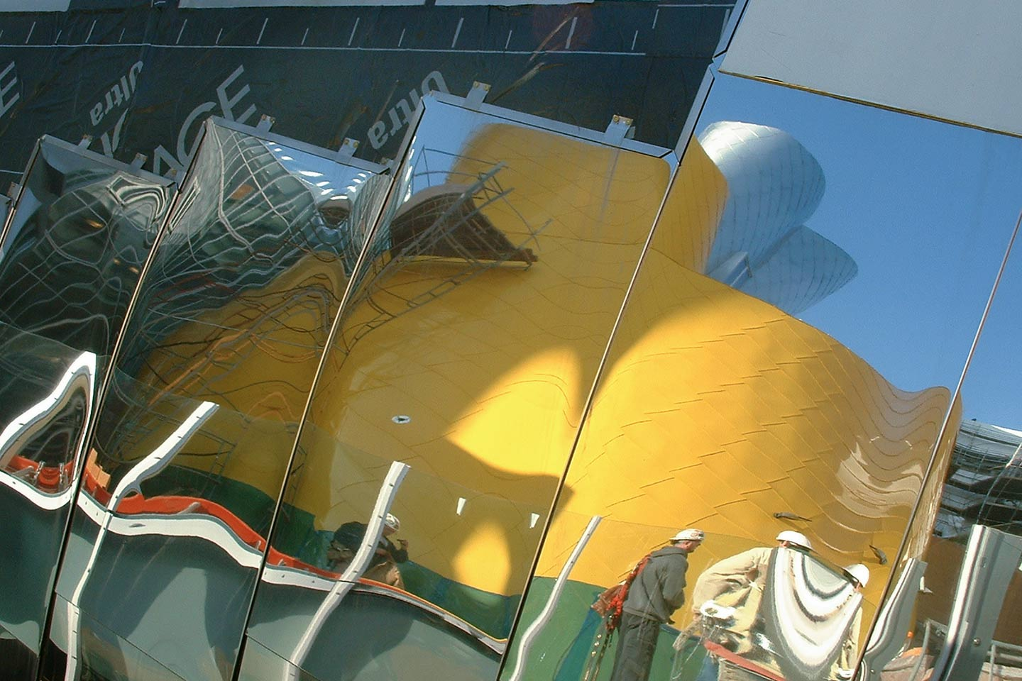 Detail of the flatseam panel system for Stata Center at MIT.