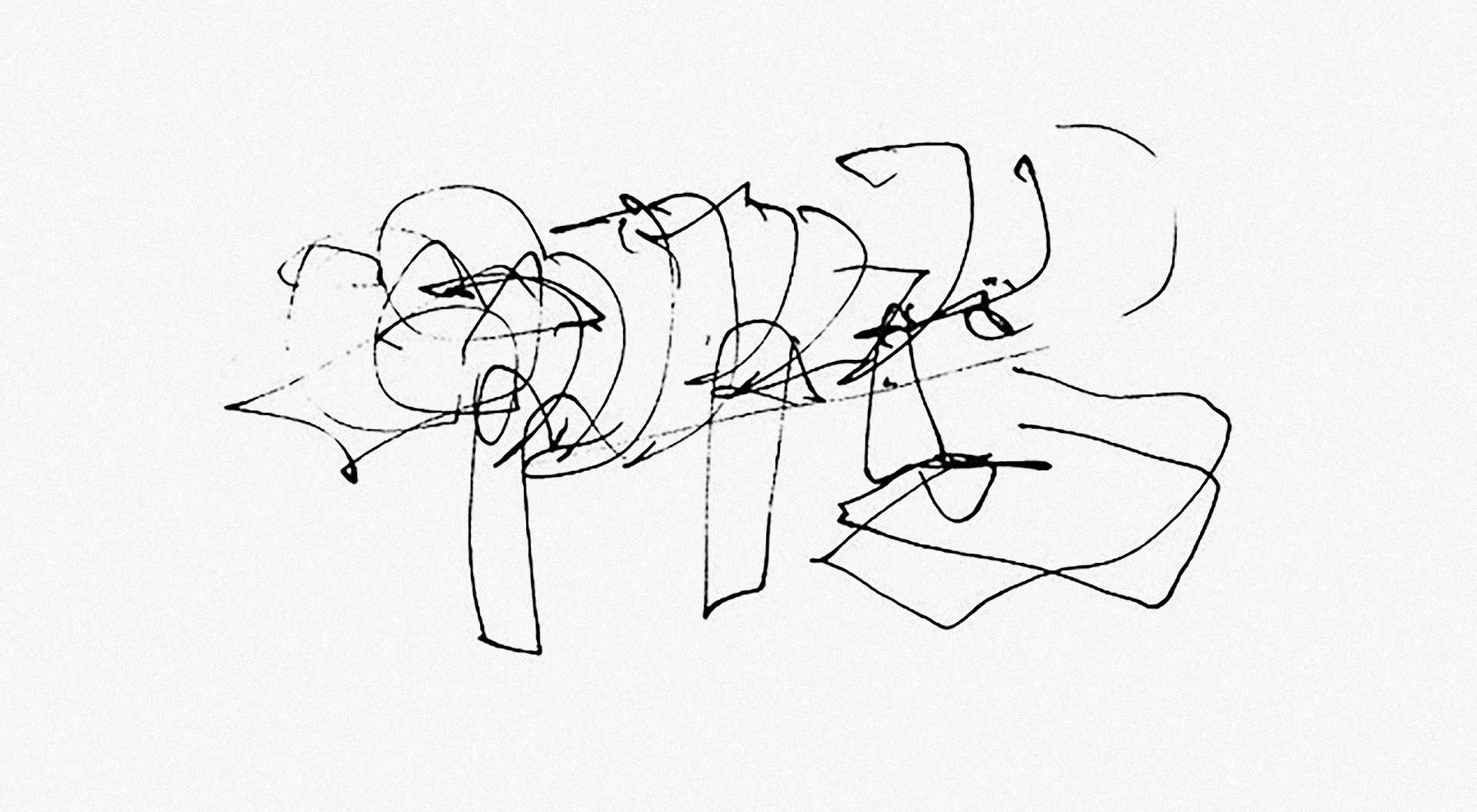Frank Gehry Sketch of the Tornado design for the Issey Miyake Tribeca.