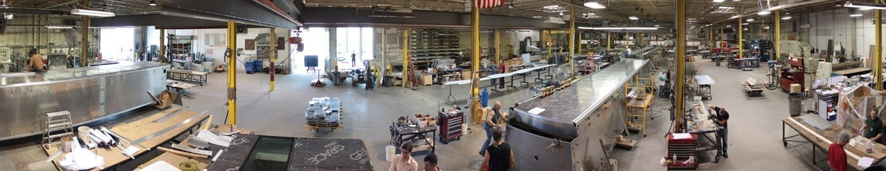 Zahner Shop floor during the production of Miami Intermodal Center
