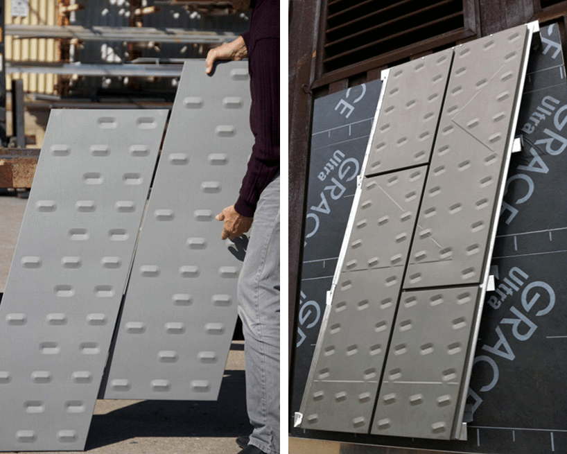 Zinc panel siding mockups are displayed at Zahner for architectural analysis.