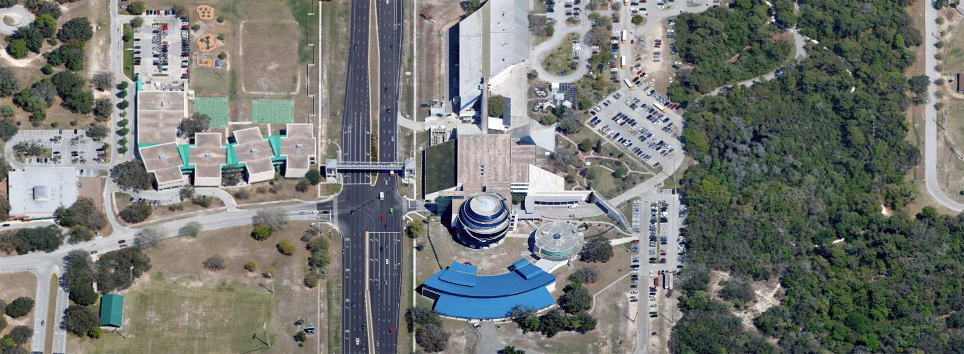 Aerial imagery of Tampa Museum of Science and Industry