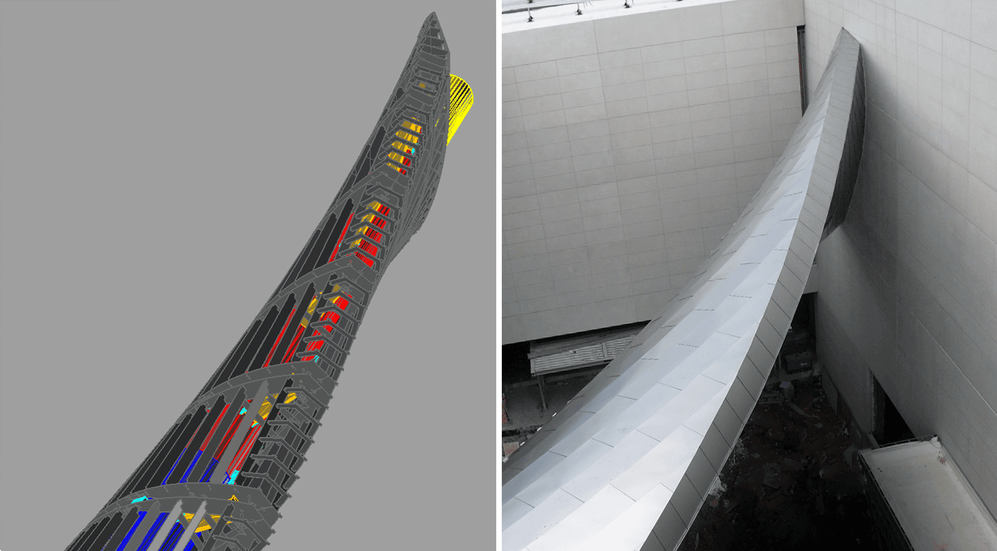 CAD View of the moebius structure Zahner designed compared with the installed view.