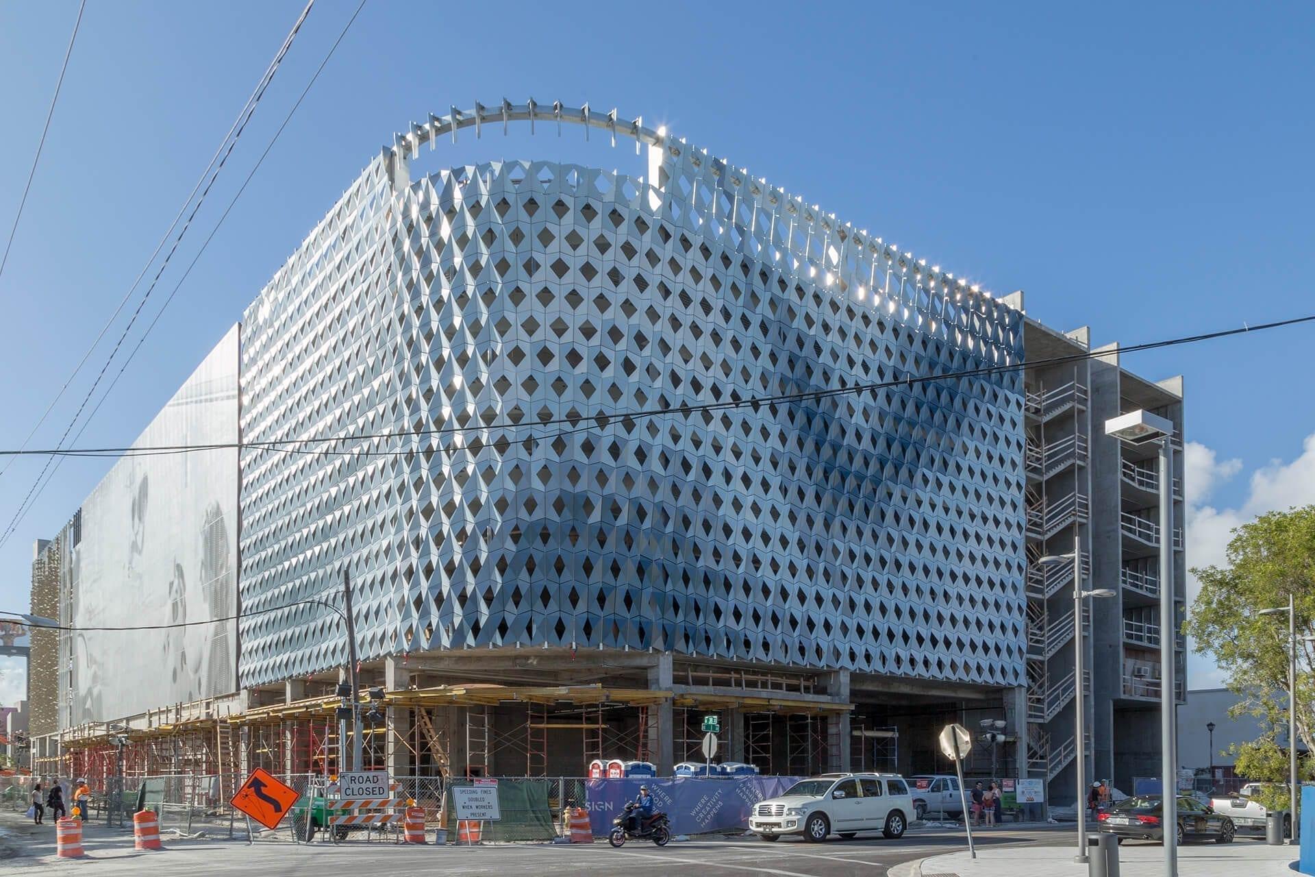 Photograph of the IwamotoScott Facade during construction, Miami Design District City View Garage.