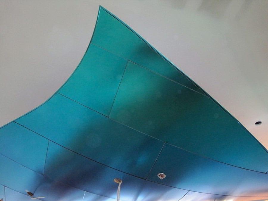 New World Symphony Bar detail of irridescent titanium surface.