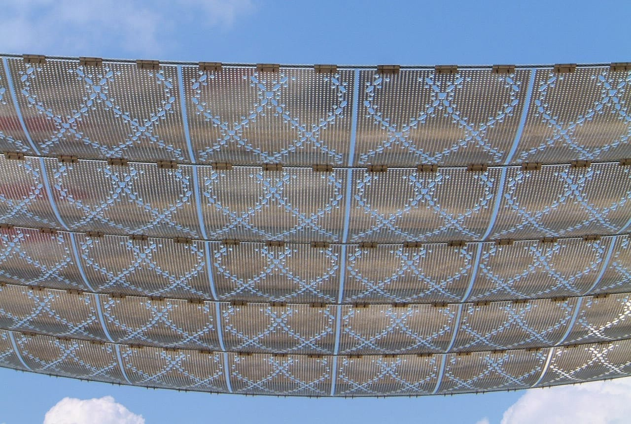 View of the sky through Noisette's perforated aluminum panels.