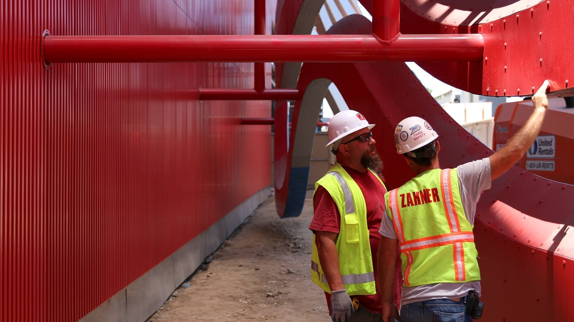 Zahner field installers at the construction site for the Petersen Automotive Museum.