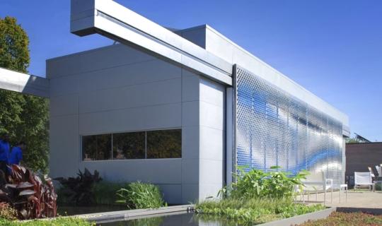Photograph of the Lumenhaus facade for Virginia Tech
