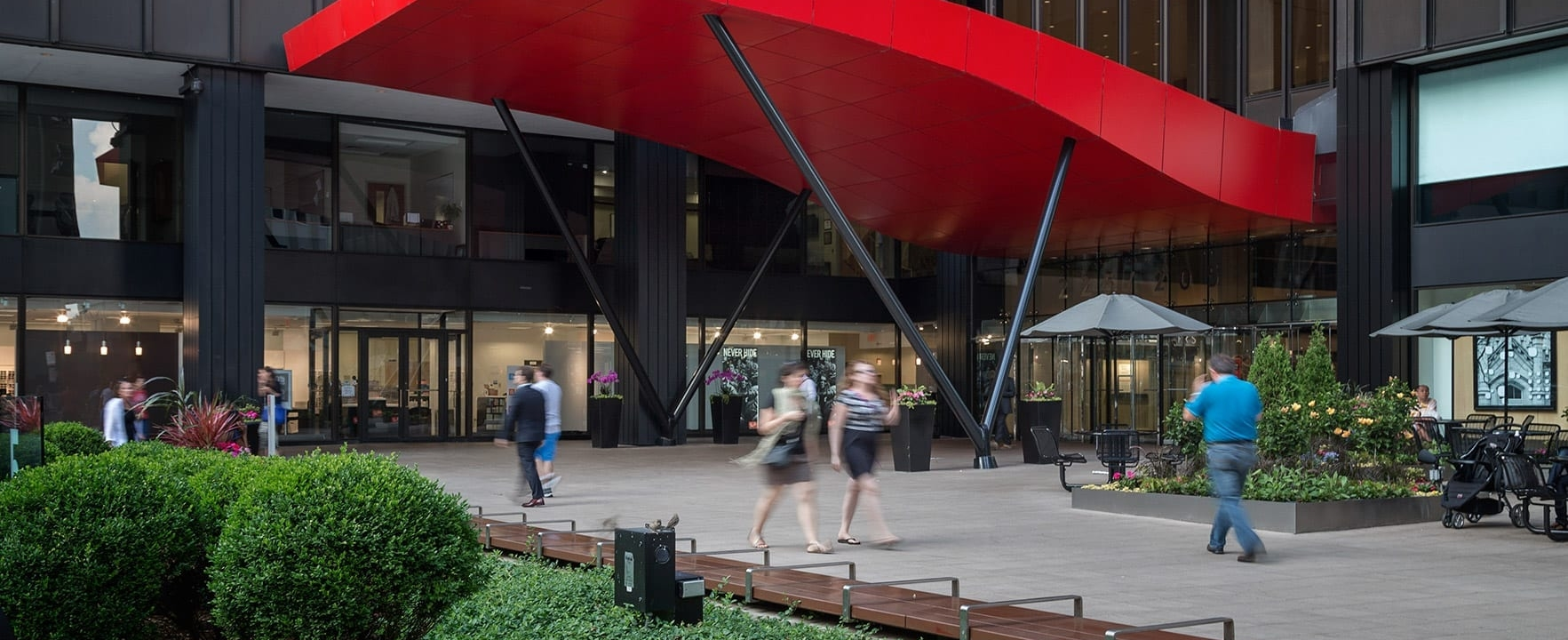 Photo of The red aluminum canopy for Michigan Avenue Plaza in Chicago
