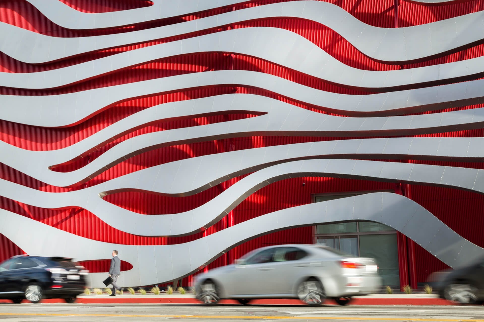 Detail of the facade of the Petersen Automotive Museum.
