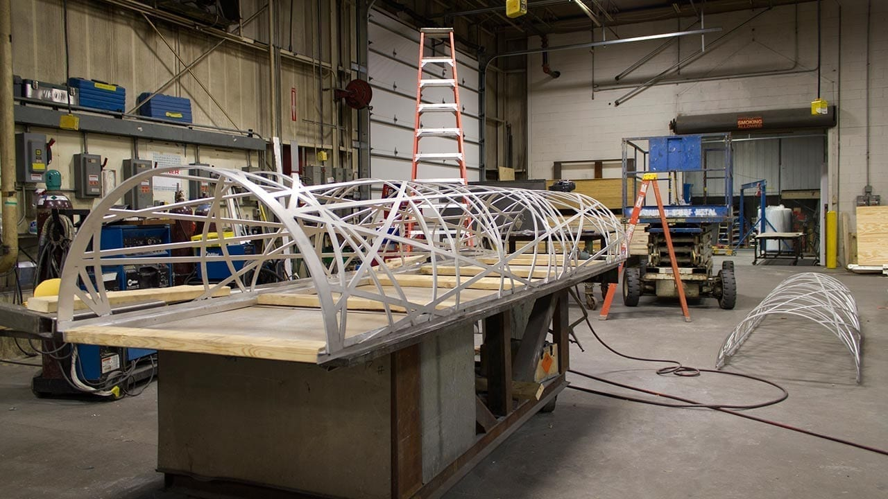 Column covers at the Zahner shop during fabrication.