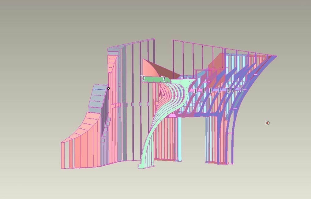 CAD-view of the Hunter Interior Staircase, with rendered ZEPPS® Components.