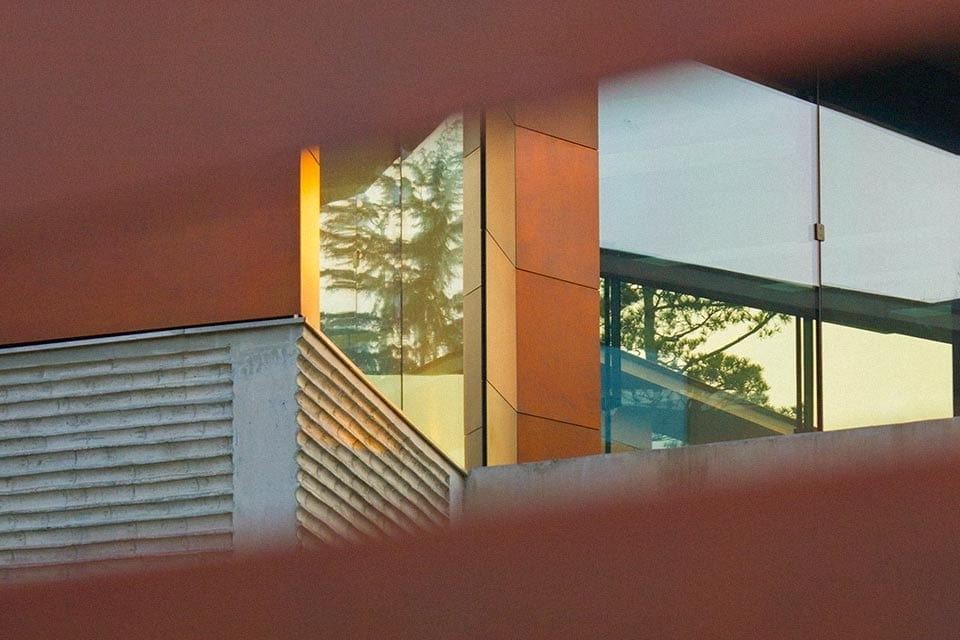 View through the slats of the Daeyang Gallery entrance