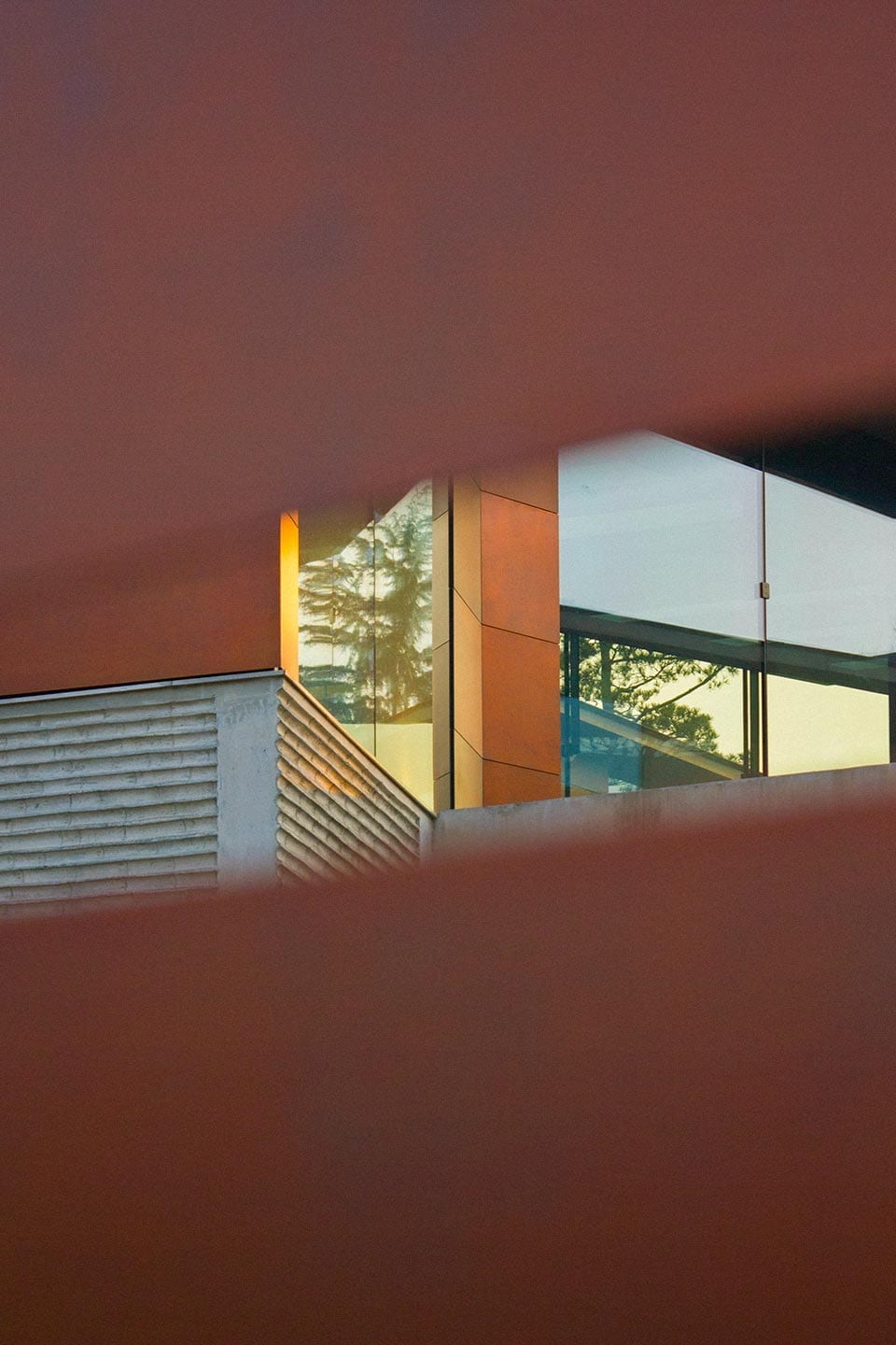 View through the slats of the Daeyang Gallery entrance.