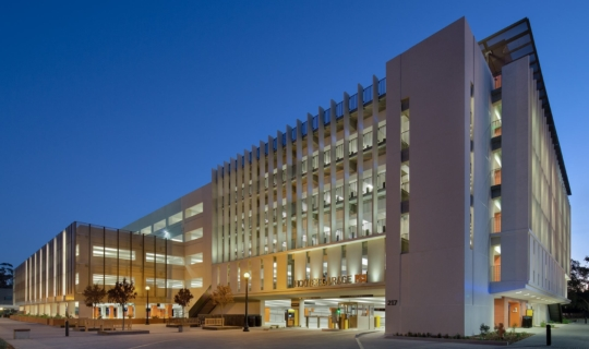 Hoover Parking structure at dusk on the Stanford University Campus