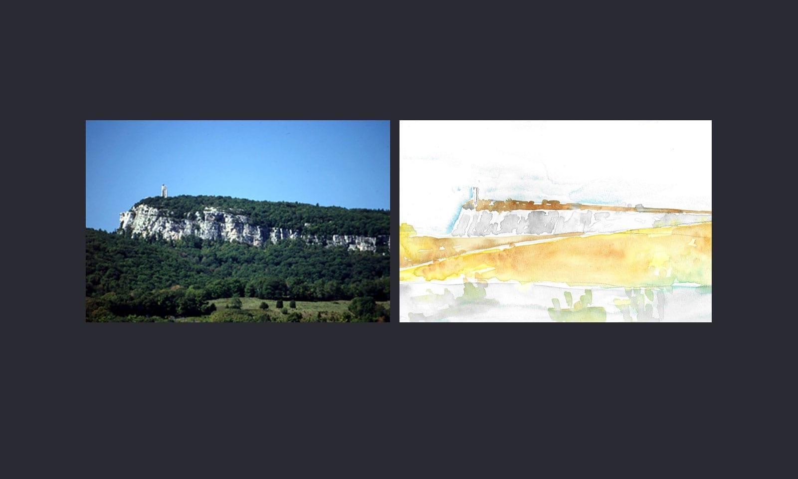 Photograph of the Shawangunk palisade alongside painting by ikon.5 architects