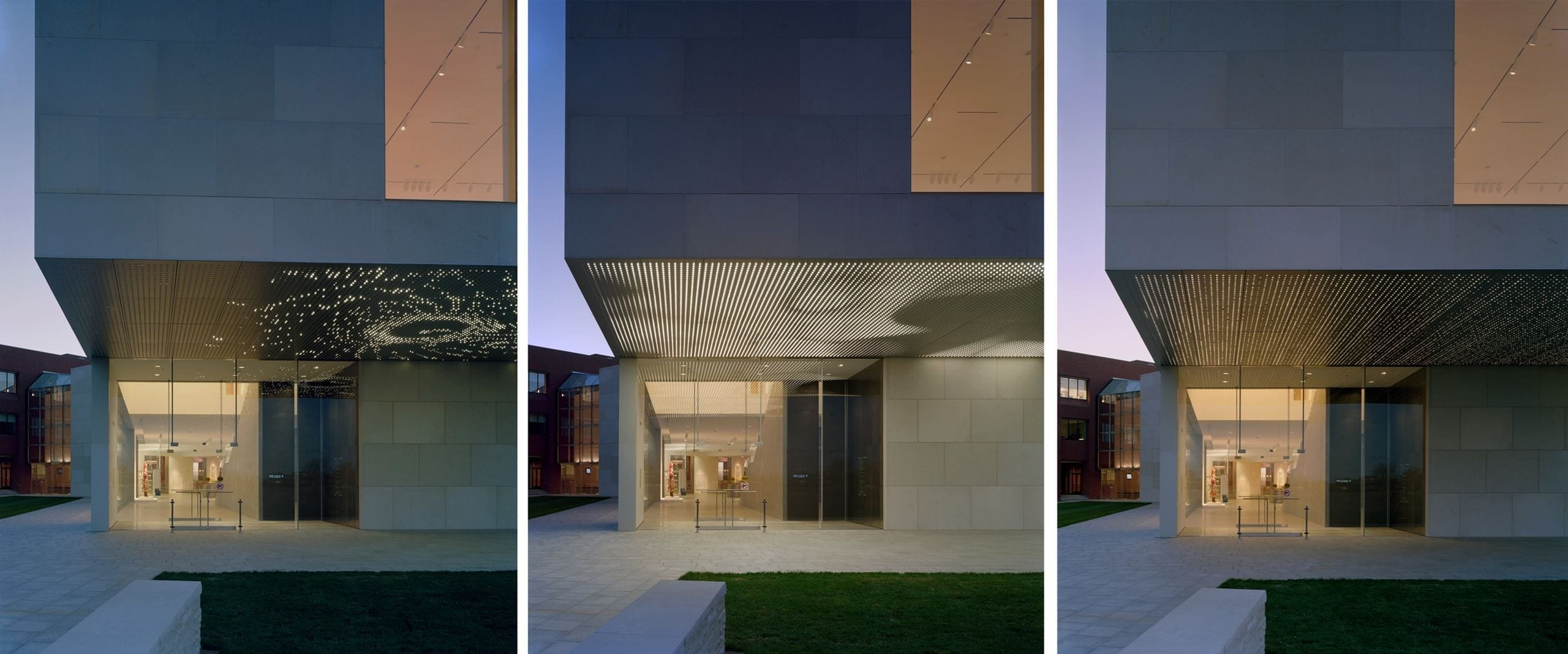 Photos of the kinetic light and soffit system developed for the Nerman Museum of Art.
