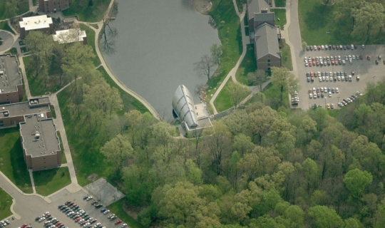 Aerial photograph of White Chapel at the Rose-Hulman Institute Campus