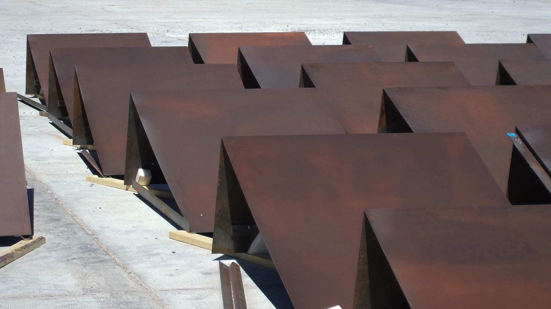 Photograph of the header panels before installation on Spaceport America.