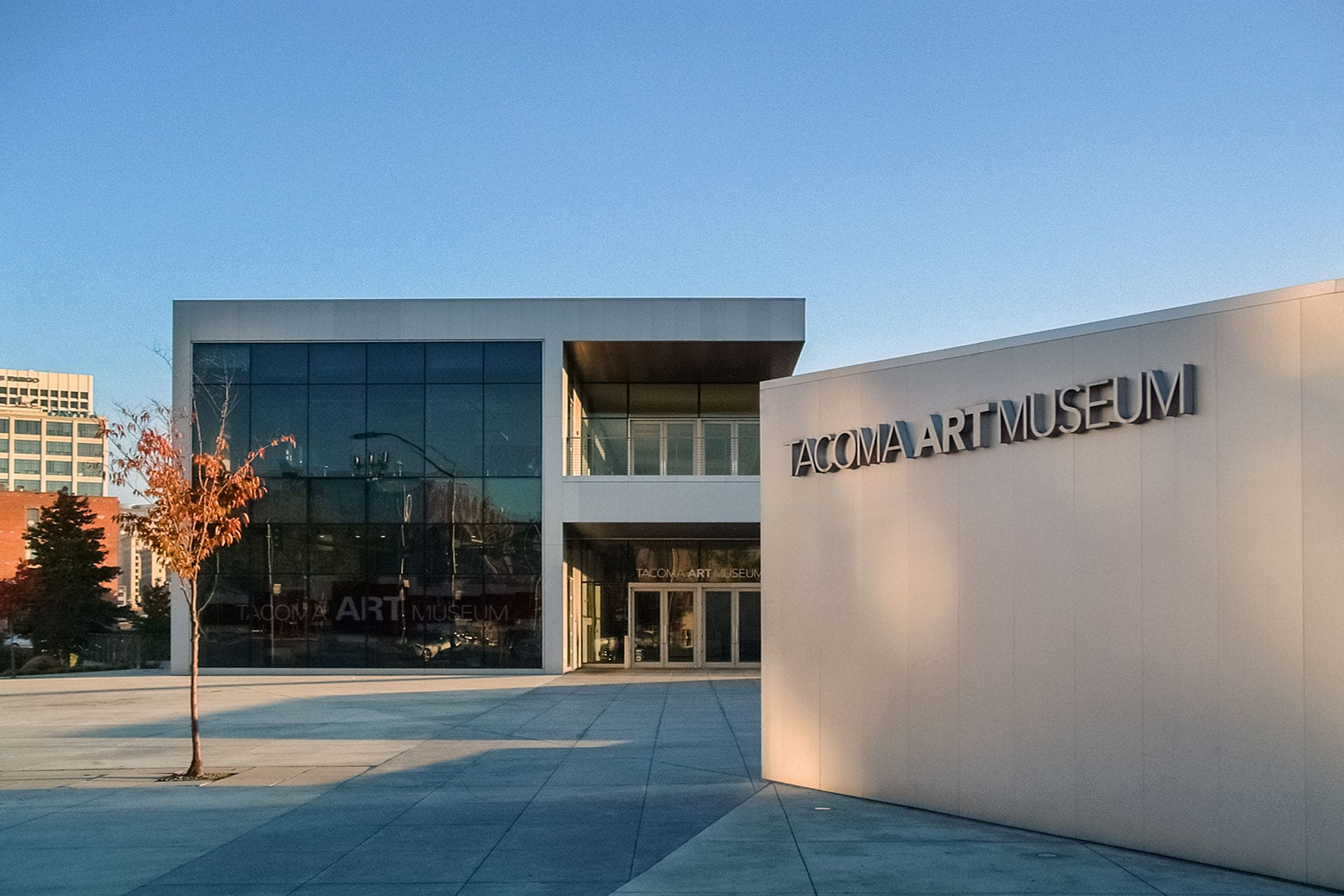 Entry for the Tacoma Art Museum in downtown Tacoma, Washington.