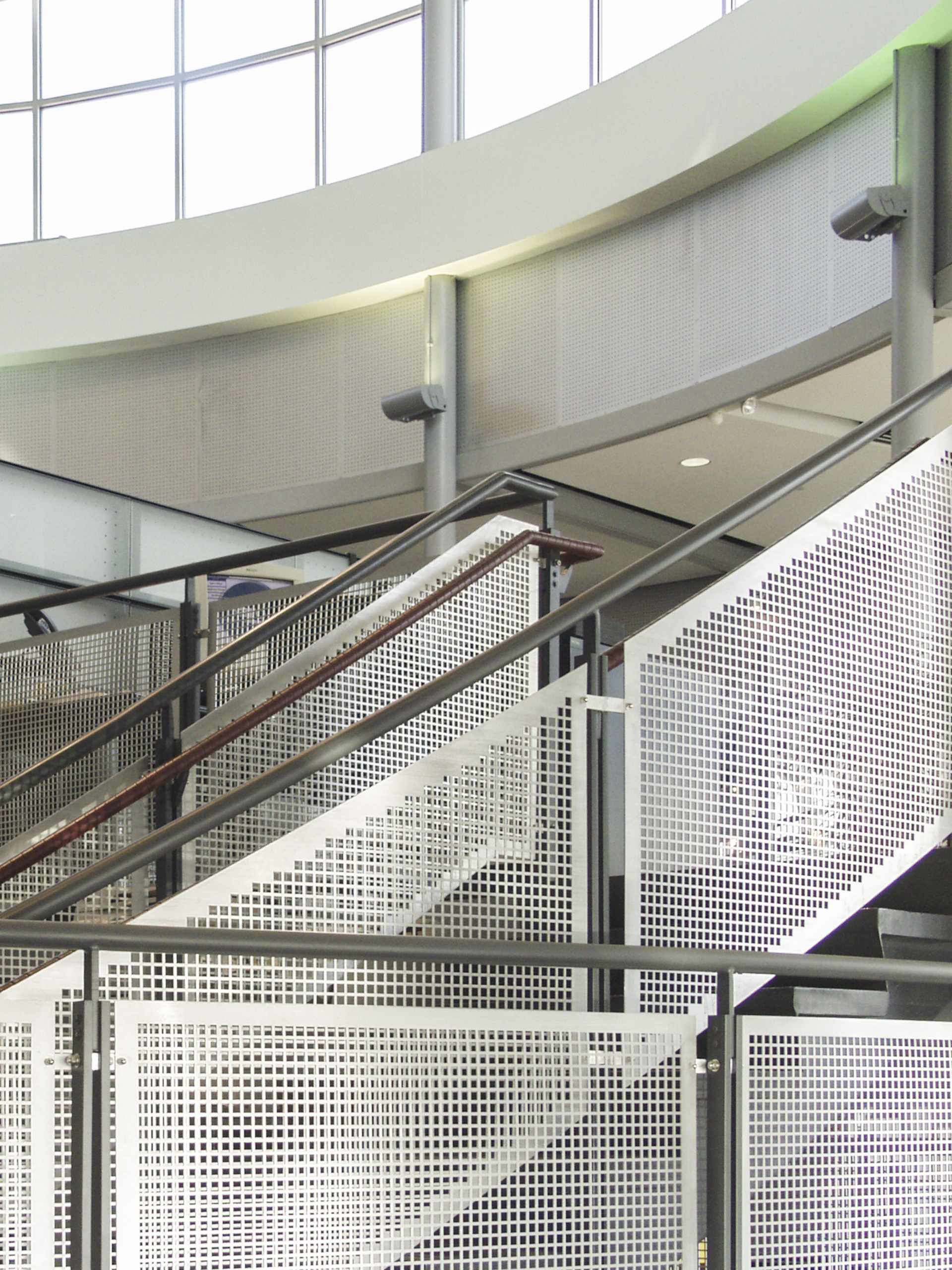 Custom guardrail screens in perforated aluminum