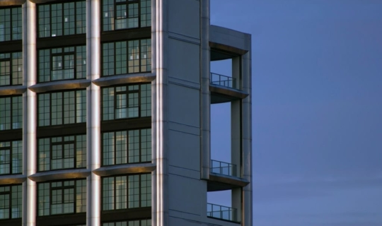 Detail of the 200 Eleventh Ave stainless steel facade