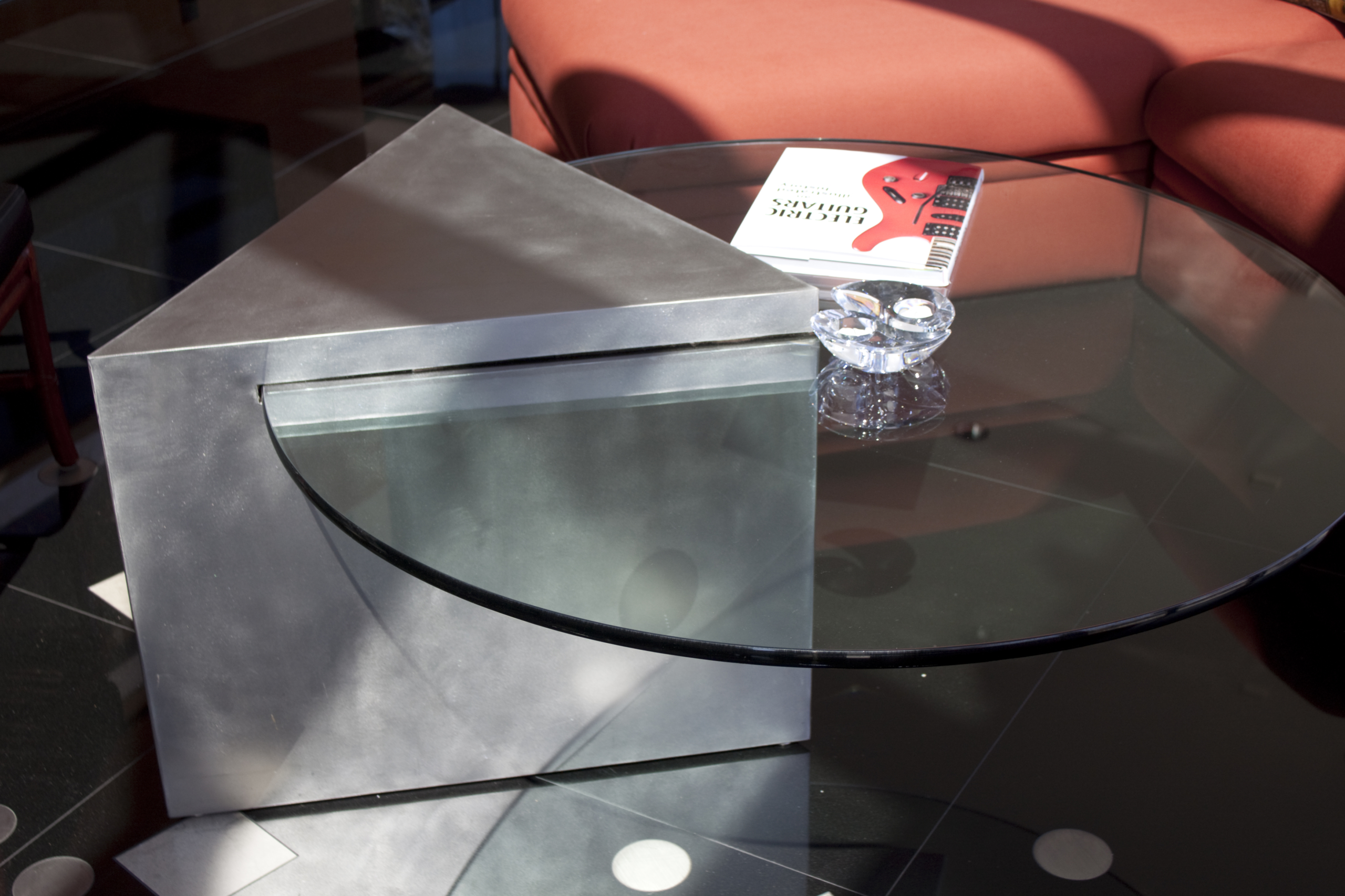 Custom metal and glass table for the Gaines Residence