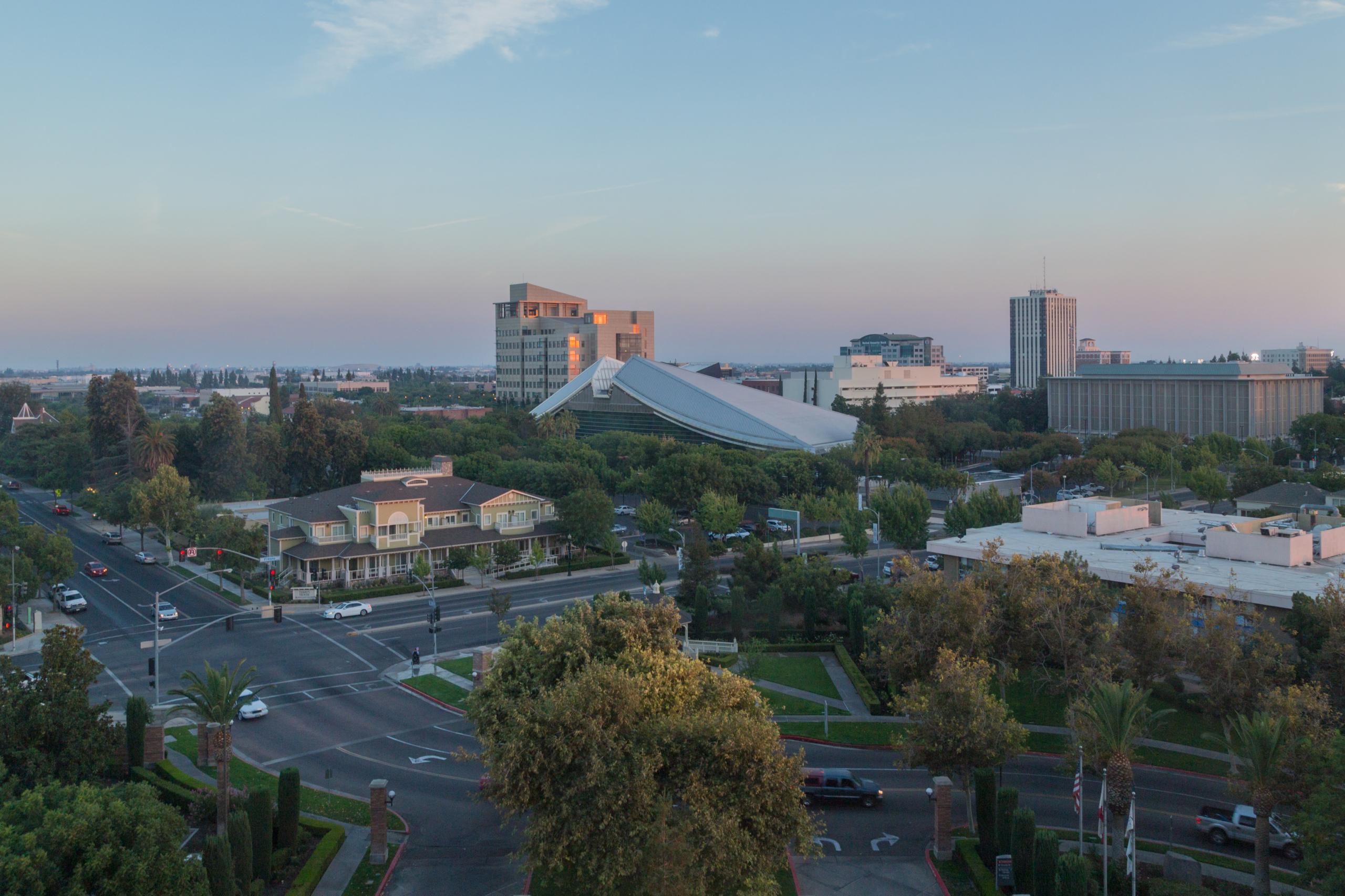 Aerial photo of Fresno City Hall in Fresno, California.
