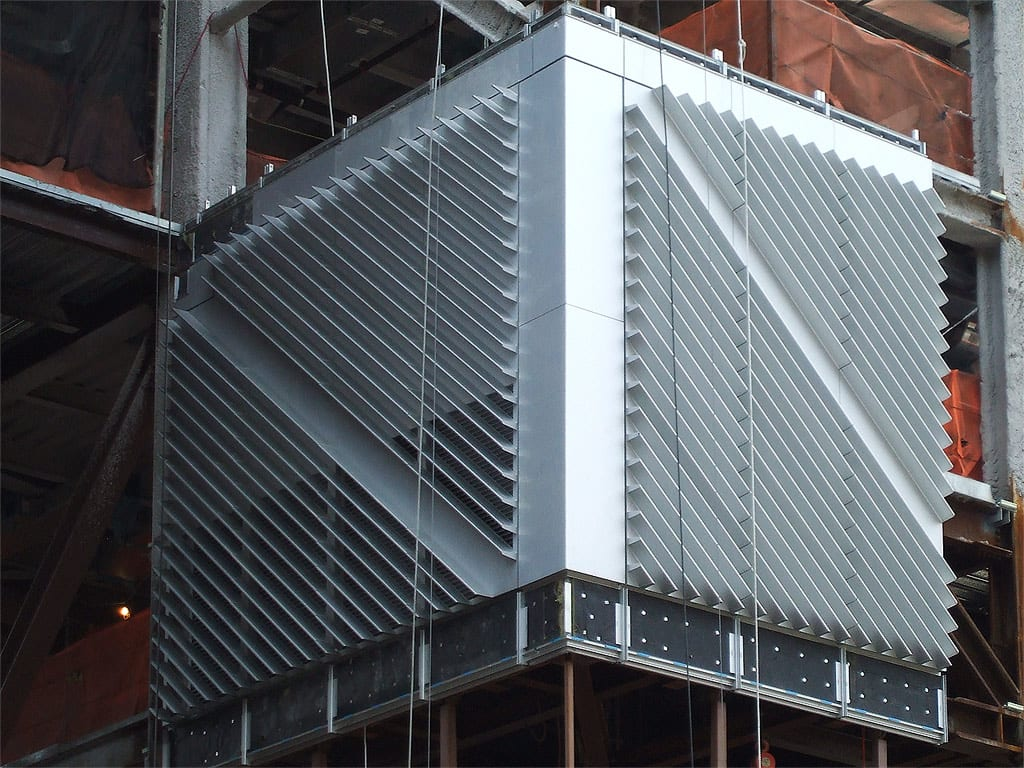 Columbia University's first installed aluminum panels.