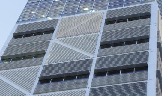 Photo of the aluminum facade system used on Columbia University Northwest Corner Building