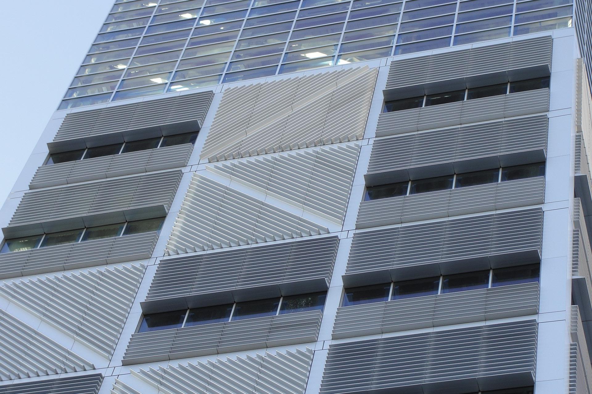 Detail of the aluminum facade system used on Columbia University Northwest Corner Building.