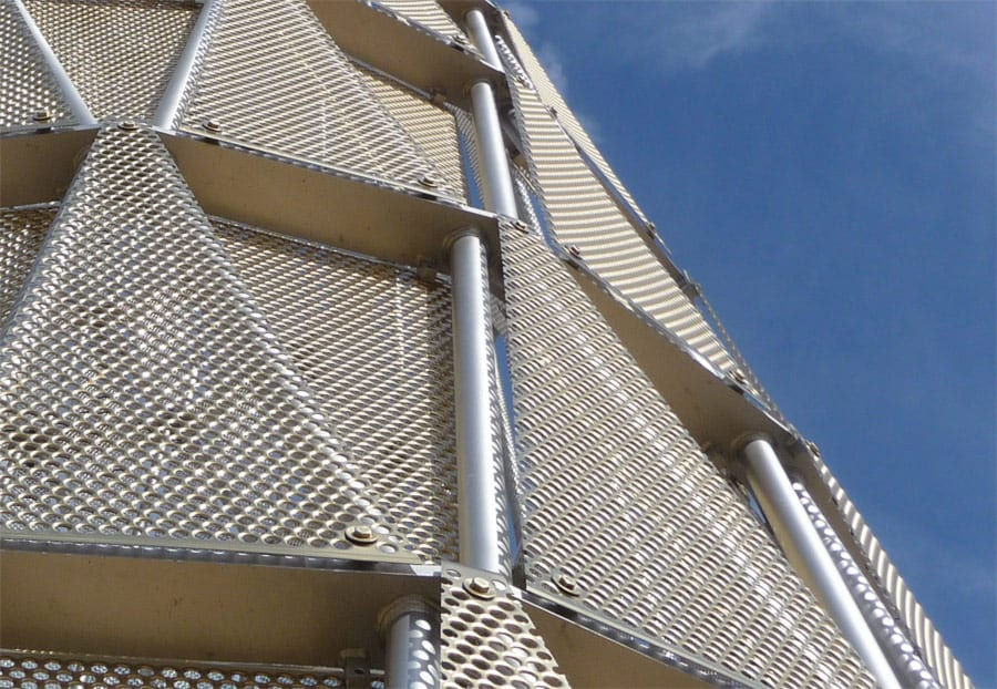 Detail of the perforated triangular panels used on Hope Tower at UNMC.