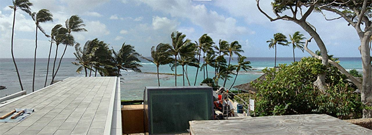 Panoramic photo of the Waipolu Gallery and Studio during construction