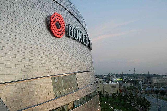 Stainless steel facade detail of BOK Center in Oklahoma.