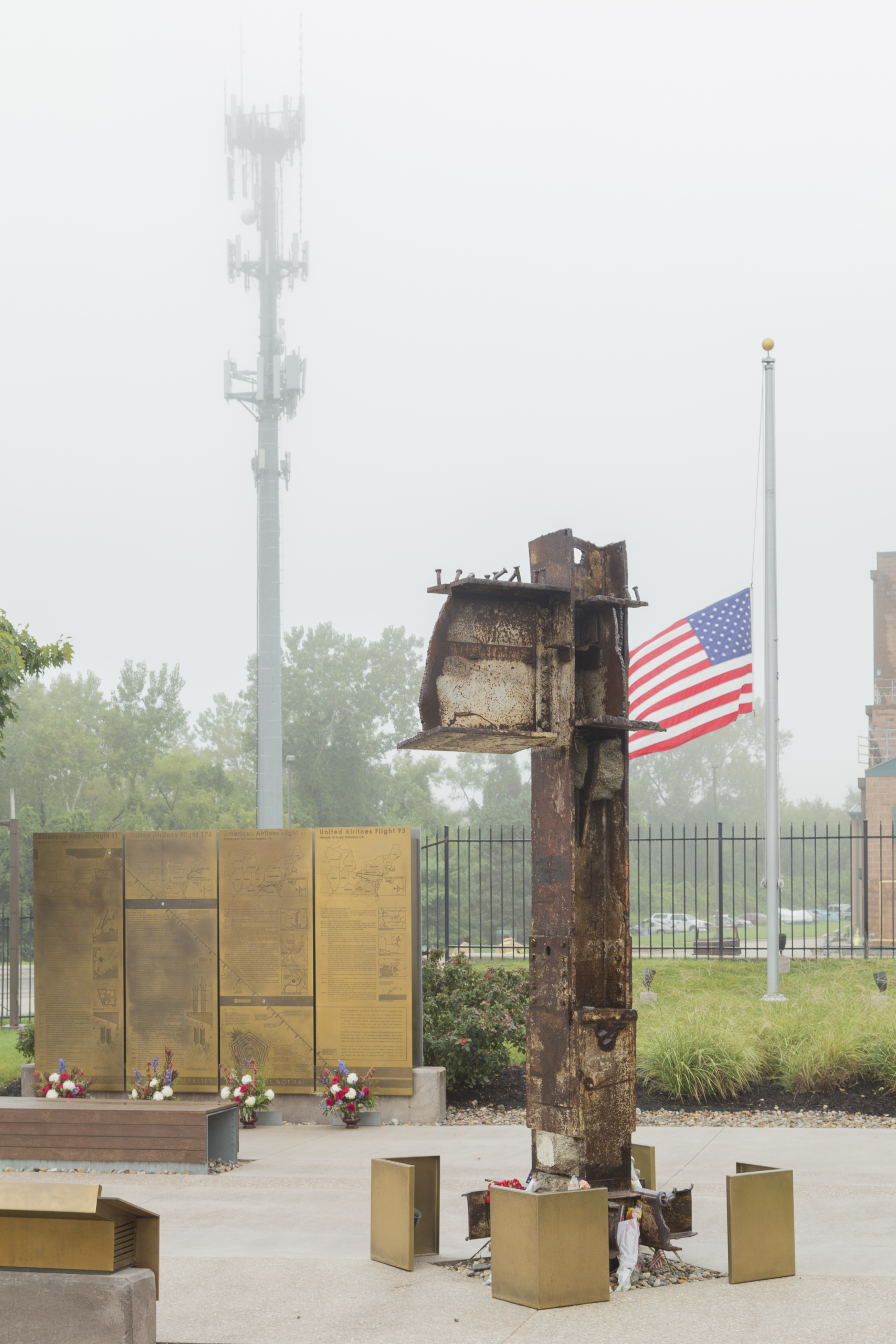 Memorial shows the original I-Beams from the World Trade Center in NYC
