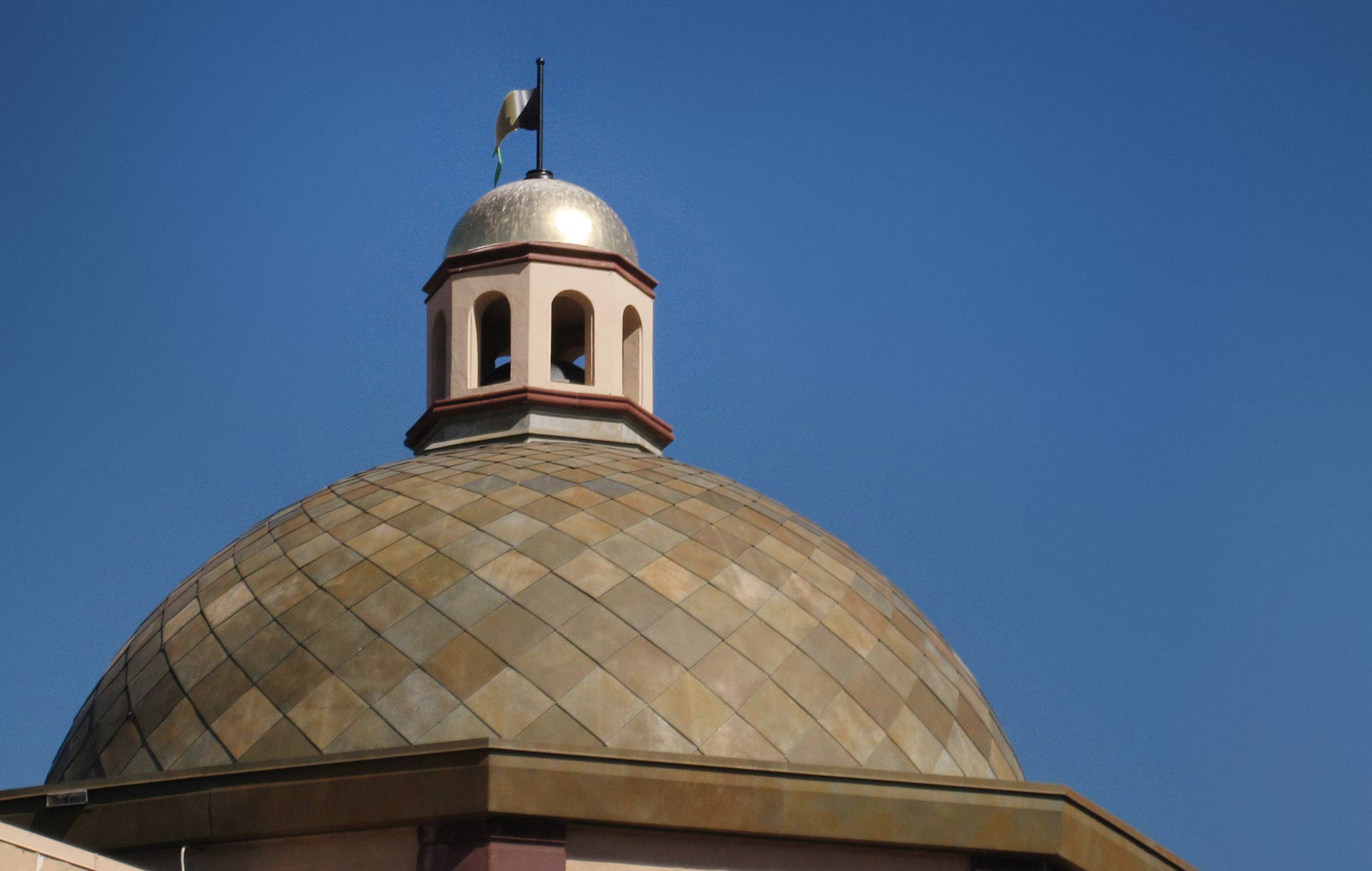 Roano Zinc patina featured as part of the Dome on the Plaza.